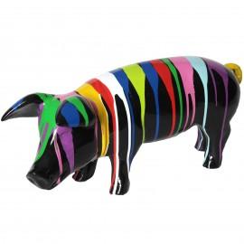Statue en résine cochon multicolore fond noir- Flipot - 60 cm