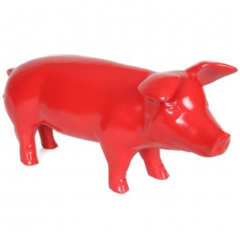 Statue en résine cochon rouge - Fader - 60 cm