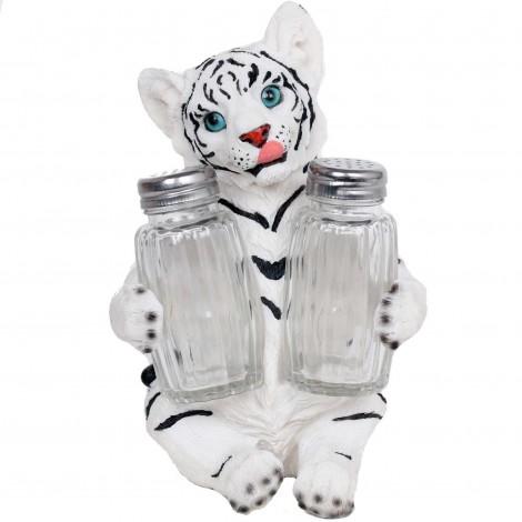 Service à condiments sel et poivre statue tigre blanc - 17 cm