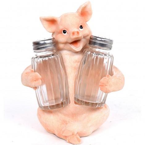 Service à condiments sel et poivre statue cochon - 15 cm