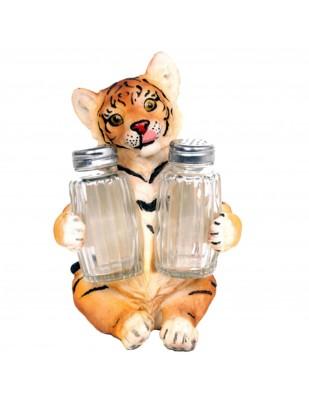 Service à condiments sel et poivre statue tigre marron - 17 cm