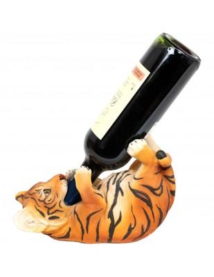 Porte-bouteille, en résine statue tigre marron  - 24 cm
