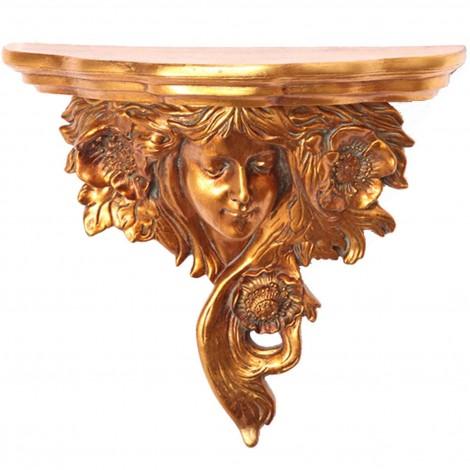 Console d'applique étagère visage de femme en résine dorée - 48 cm