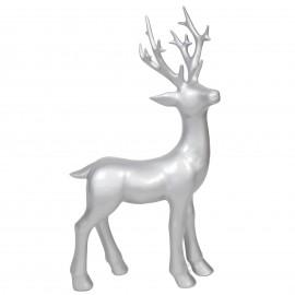 Statue cerf en résine couleur argent - 76 cm