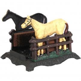 Gratte pied en fonte statue cheval trois brosses - 30 cm