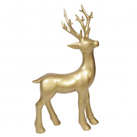 Statue cerf en résine couleur doré - 76 cm