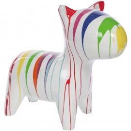 Statue chien design multicolore fond blanc en résine - Pat - 80 cm