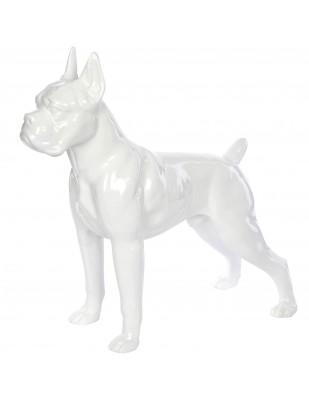 Statue en résine CHIEN boxer blanc - Armand - 52 cm