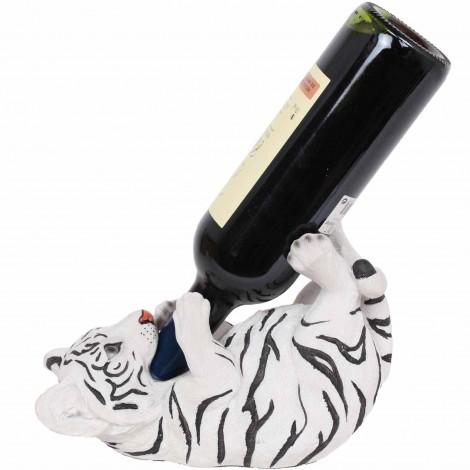Porte-bouteille, en résine statue tigre blanc - 24 cm