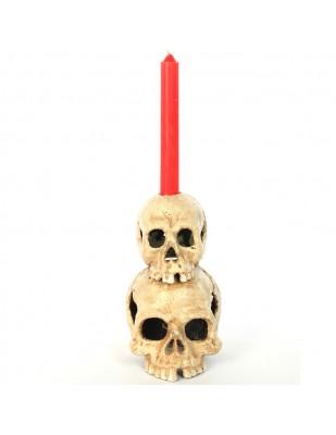 Bougeoir double tête de mort en fonte - 19 cm