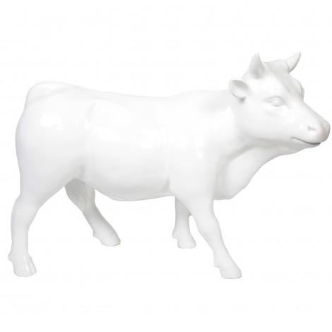 Statue taureau vache blanche en résine - 95 cm