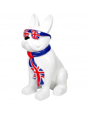 Statue chien bouledogue Français à lunette en résine drapeau Anglais - 80 cm