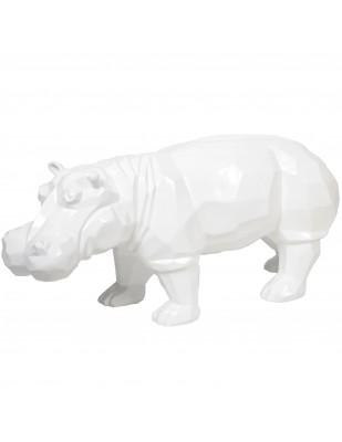 Statue origami hippopotame en résine blanc - 96 cm
