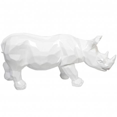 Statue origami rhinocéros en résine blanc- 100 cm