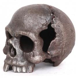 Statue tête de mort couleur acier en fonte - 13 cm