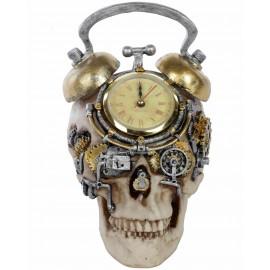 Statue tête de mort avec horloge - en résine - 22 cm