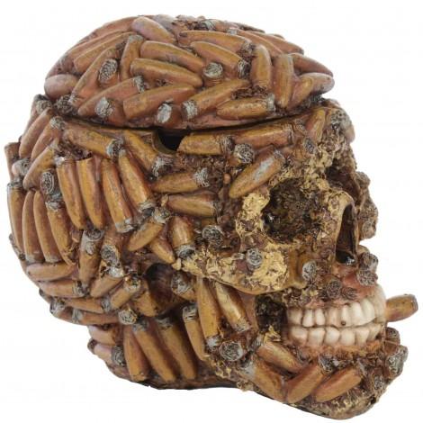 Statue tête de mort cendrier - en résine - 14 cm