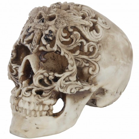 Statue tête de mort ajourée - en résine - 18 cm
