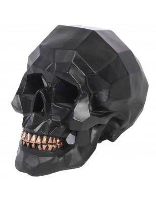 Statue tête de mort origami noire  - en résine - 13 cm