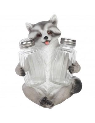 Service à condiments sel et poivre raton laveur - 14 cm