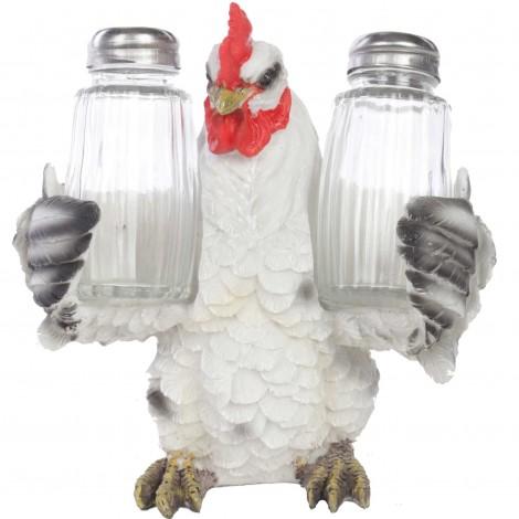 Service à condiments sel et poivre statue coq - 15 cm
