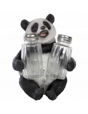 Service à condiments sel et poivre statue panda - 14 cm