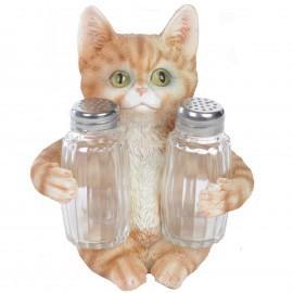 Service à condiments sel et poivre statue chat - 15 cm