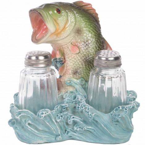 Service à condiments sel et poivre statue truite - 14 cm