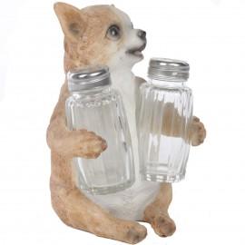 Service à condiments sel et poivre statue chien chihuahua ou chiwawa - 15 cm