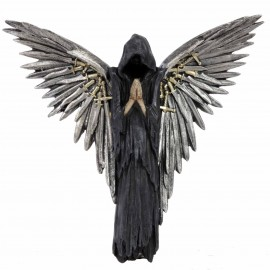 Statue murale gothique ange de la mort faucheuse épées - 30 cm