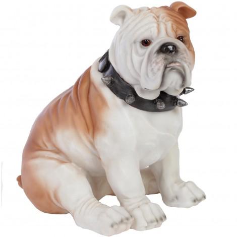 Statue chien bouledogue Anglais assis collier a pointes - 22 cm