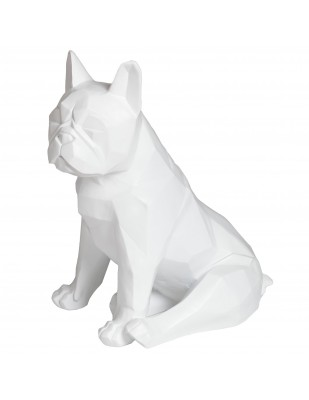 Statue chien bouledogue Français assis origami blanc assis - 35 cm