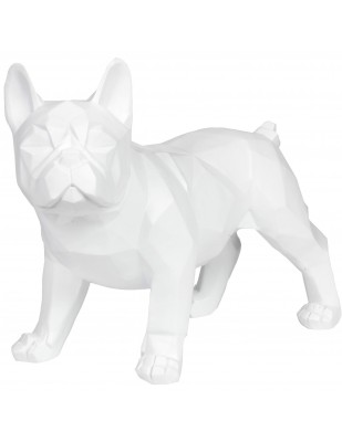 Statue chien bouledogue Français debout origami blanc - 40 cm