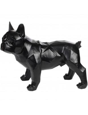 Statue chien bouledogue Français debout origami noir - 40 cm