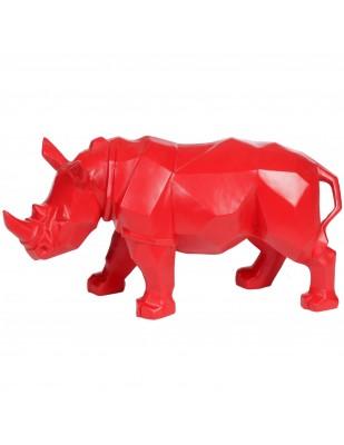 Statue rhinocéros origami rouge - 42 cm