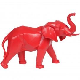 Statue éléphant origami rouge - 40 cm