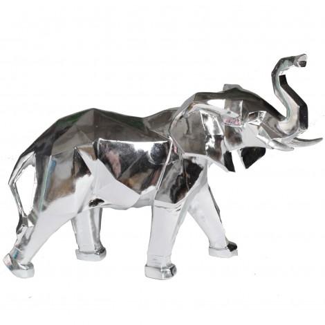 Statue éléphant origami argent - 40 cm