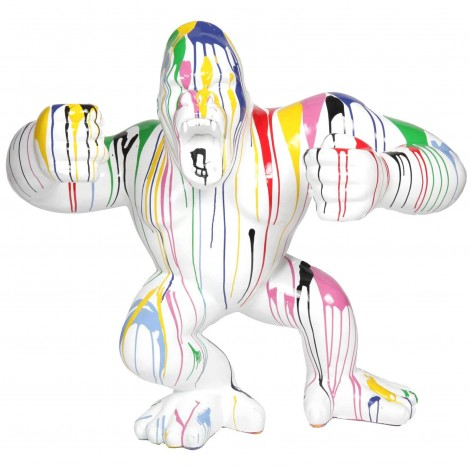 Statue en résine Donkey Kong gorille singe debout multicolore fond blanc - Alain - 120 cm