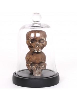 Statue deux têtes de mort sous globe en verre style gothique - 24 cm