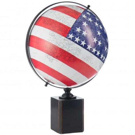 Mappemonde globe terrestre Sur Pied Bois Drapeau Usa - 48 cm