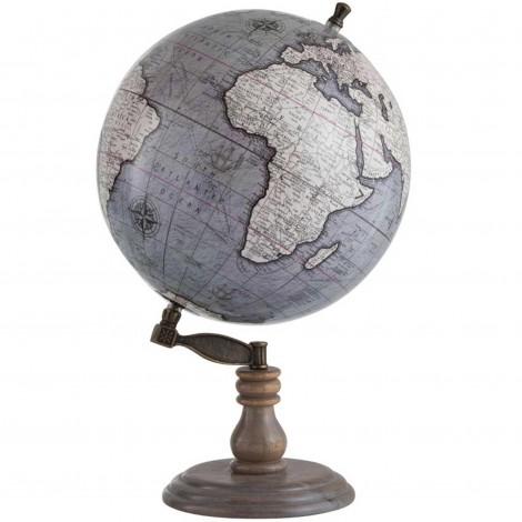 Mappemonde globe terrestre Sur Pied Bois fond gris - 50 cm