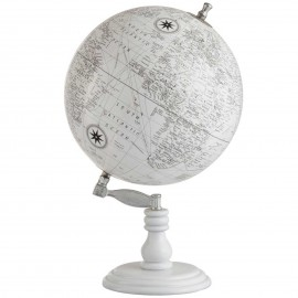 Mappemonde globe terrestre Sur Pied Bois fond blanc - 50 cm