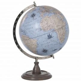 Mappemonde globe terrestre Sur Pied Bois fond bleu solo