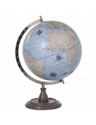 Mappemonde globe terrestre Sur Pied Bois fond bleu - 45.5 cm