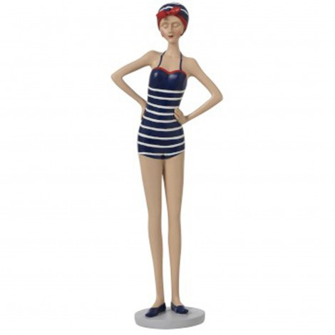 Statue femme Maillot De Bain Debout Résine maillot rayé - 35 cm