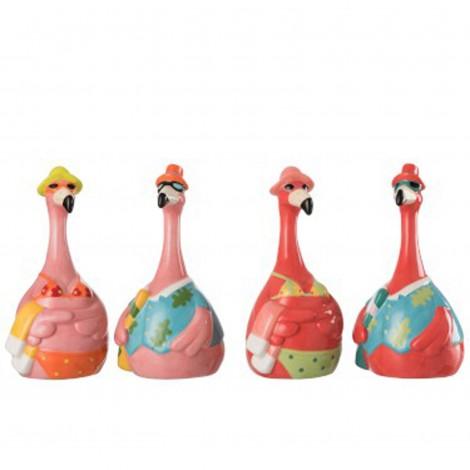 Set de 4 statues de flamant rose a la plage en céramique - 20 cm