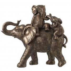 Statue éléphant doré en résine avec ces deux petits moment de jeux