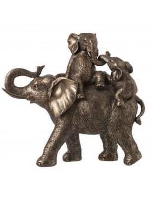 Statue éléphant doré en résine avec ces deux petits - 30 cm
