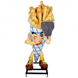 Stop-trottoir sur roulettes cornet de frites avec ardoise - 200 cm
