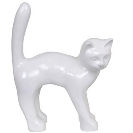 Statue en résine CHAT blanc - 45 cm